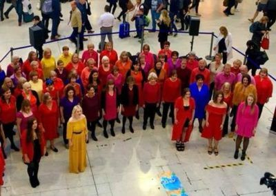 Eclipse Choir in Sunset Colours at Waterloo Station