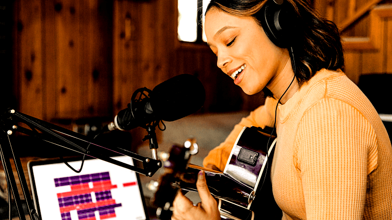 Singer songwriter making home recording