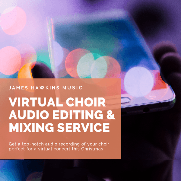 Virtual choir audio editing and mixing service