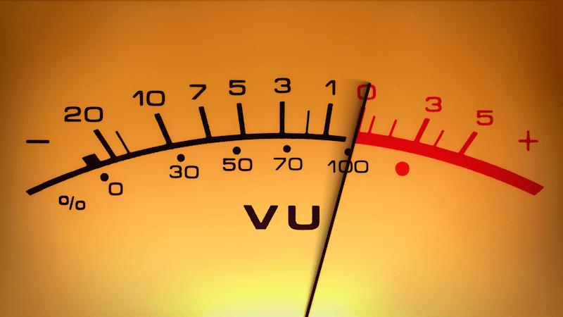 Recording studio VU Meter measuring decibels
