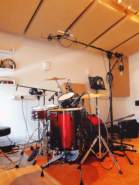 drum kit rigged for recording real working studio