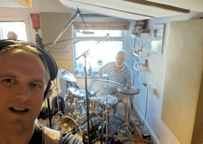 Recording Blemish of Gravity band drums and bass guitar