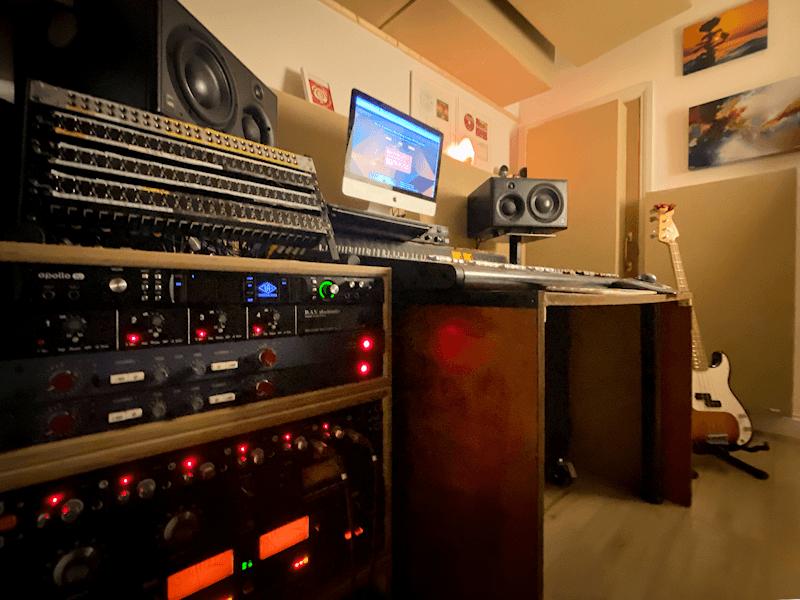 Recording studio control room mixing console monitors