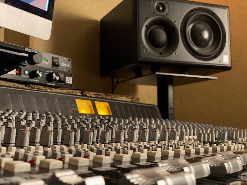 Studio monitors and mixer